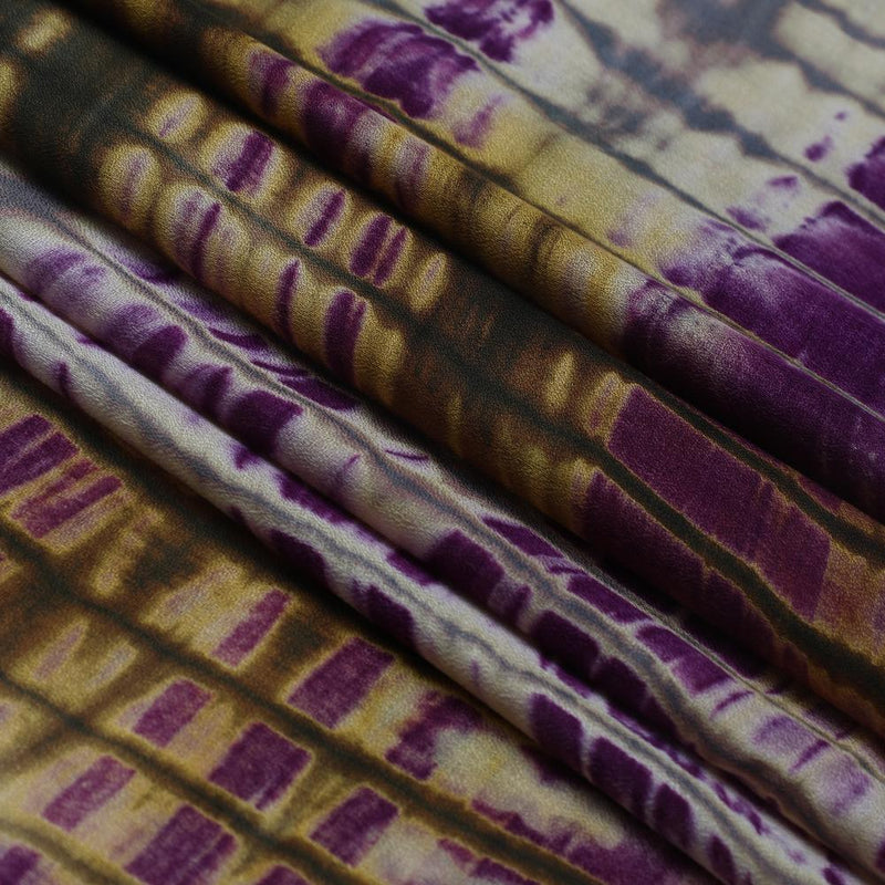 FFAB Fabric Collection | Handcrafted Batik Print on Cotton Fabric | Purple and Yellow Color