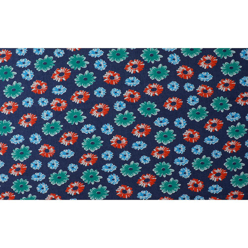 FFAB Fabric Collection | Print on Denim Cotton Fabric | Multi Color
