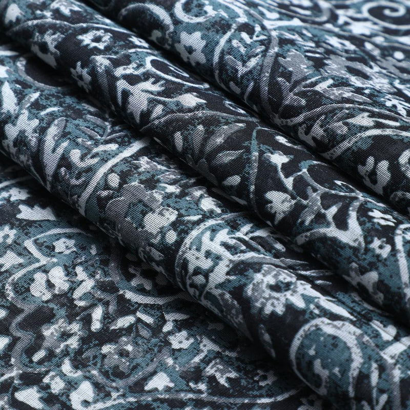 FFAB Fabric Collection | Print on Fine Chanderi Fabric | Black and Grey Color