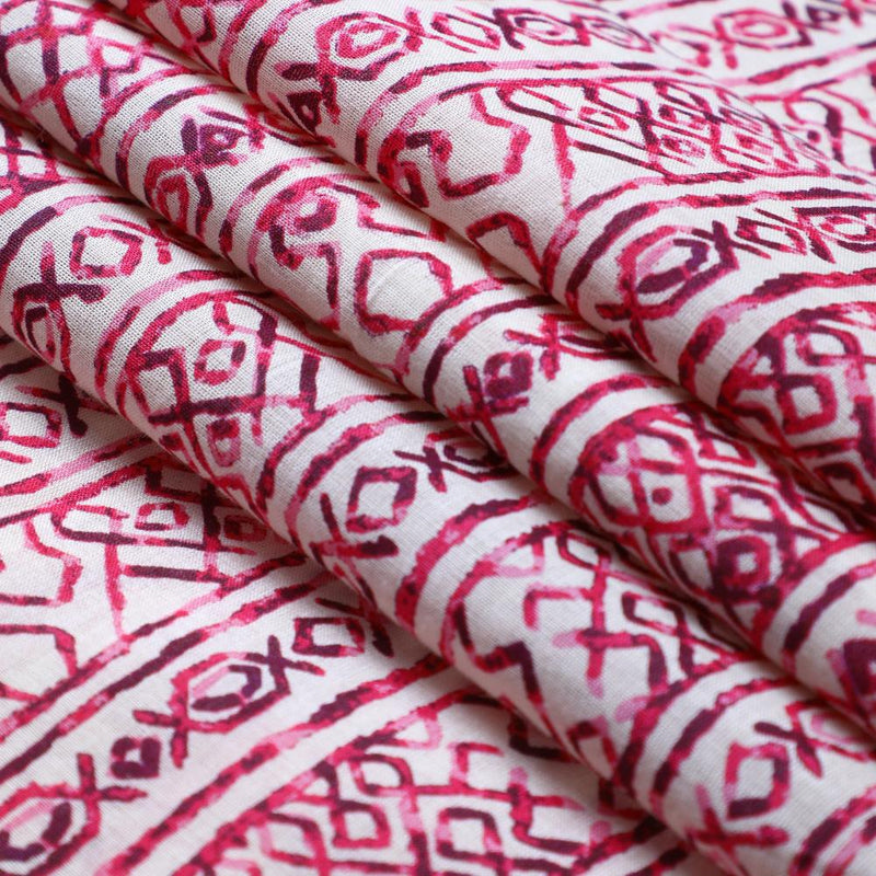 FFAB Fabric Collection | Print on Tussar Chanderi Fabric | Magenta Pink Color