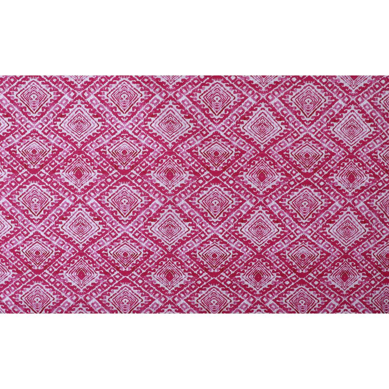FFAB Fabric Collection | Print on Silk Cotton Tussar Chanderi Fabric | Pink Color