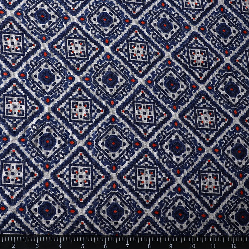 FFAB Fabric Collection | Print on Polyester Fancy Jute Fabric | Dark Blue color