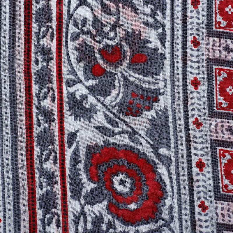 FFAB Fabric Collection | Print on Viscose Georgette Fabric | red and grey Color