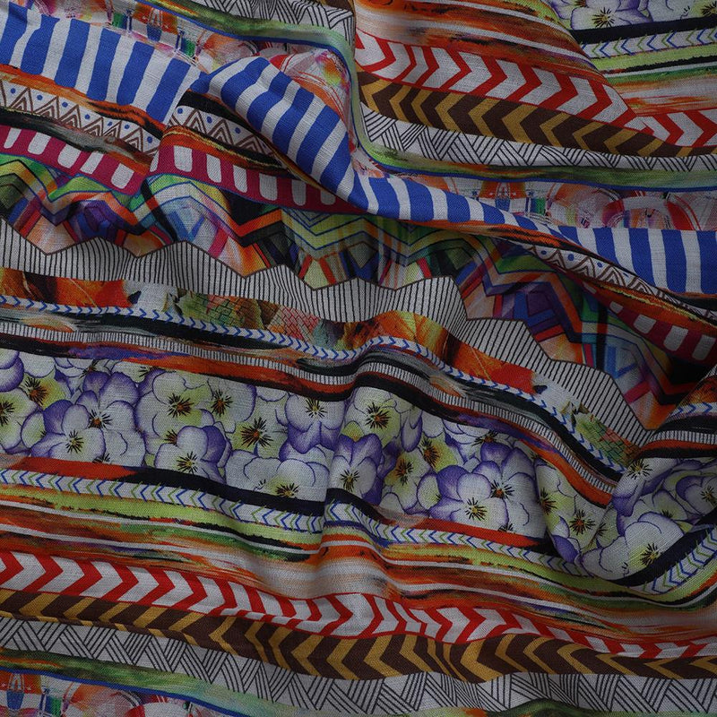 FFAB Fabric Collection | Digital Print on Cotton Linen Fabric | Multi Color