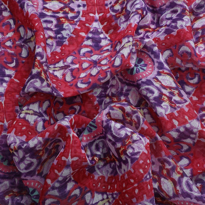 FFAB Fabric Collection | Print on Fine Muslin Fabric | Red and Purple Color