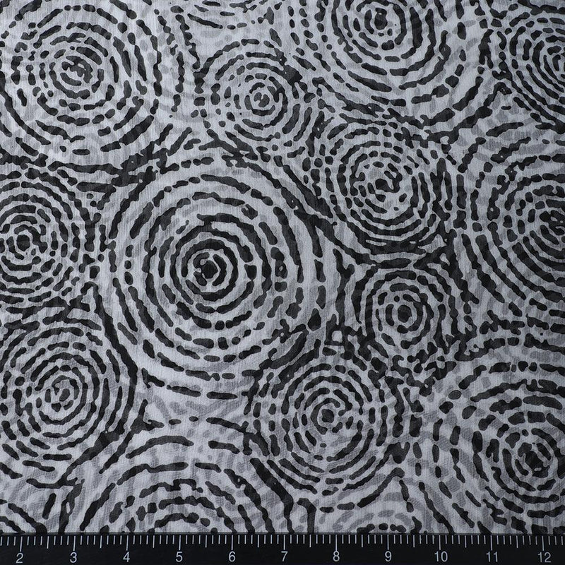 FFAB Fabric Collection | Print on Georgette Silk Fabric | Black Color
