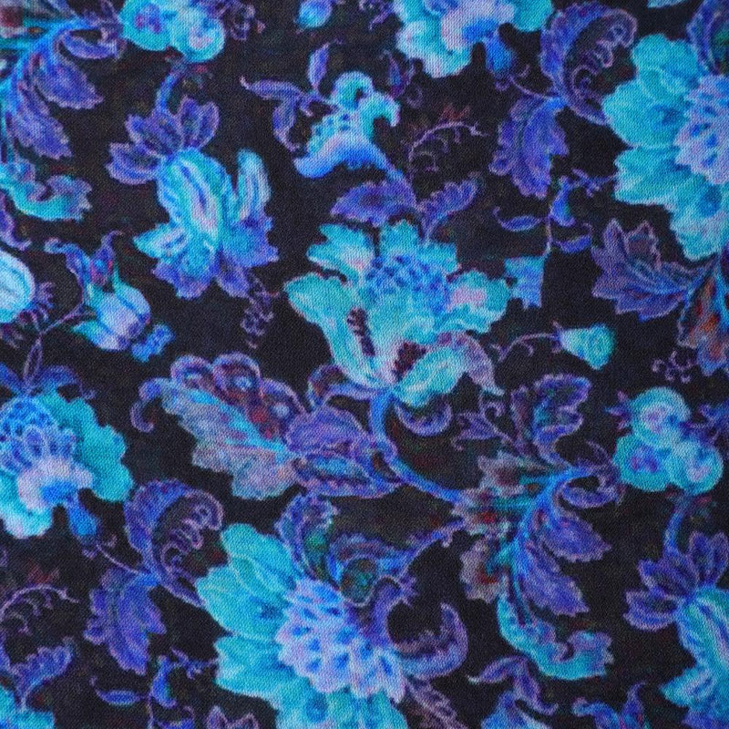 FFAB Fabric Collection | Print on Satin Chiffon Fabric | Black-Green Color
