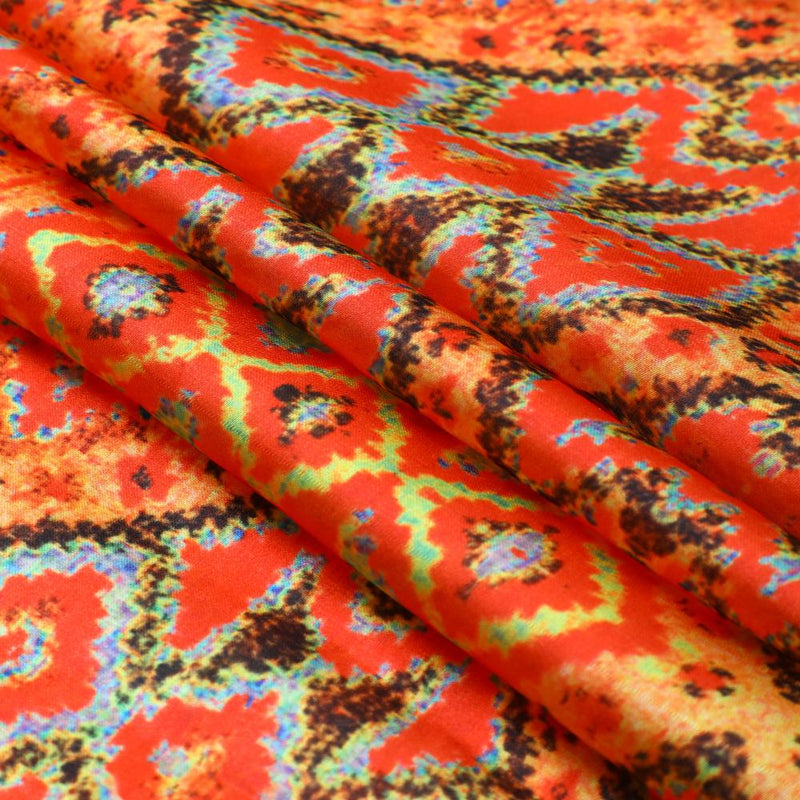 FFAB Fabric Collection | Print on Satin Chiffon Fabric | Red Color