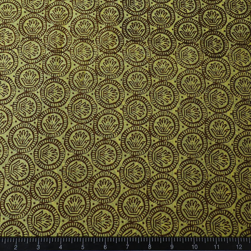 FFAB Fabric Collection | Digital Printed Fine Chanderi Fabric | Yellow-Brown Color