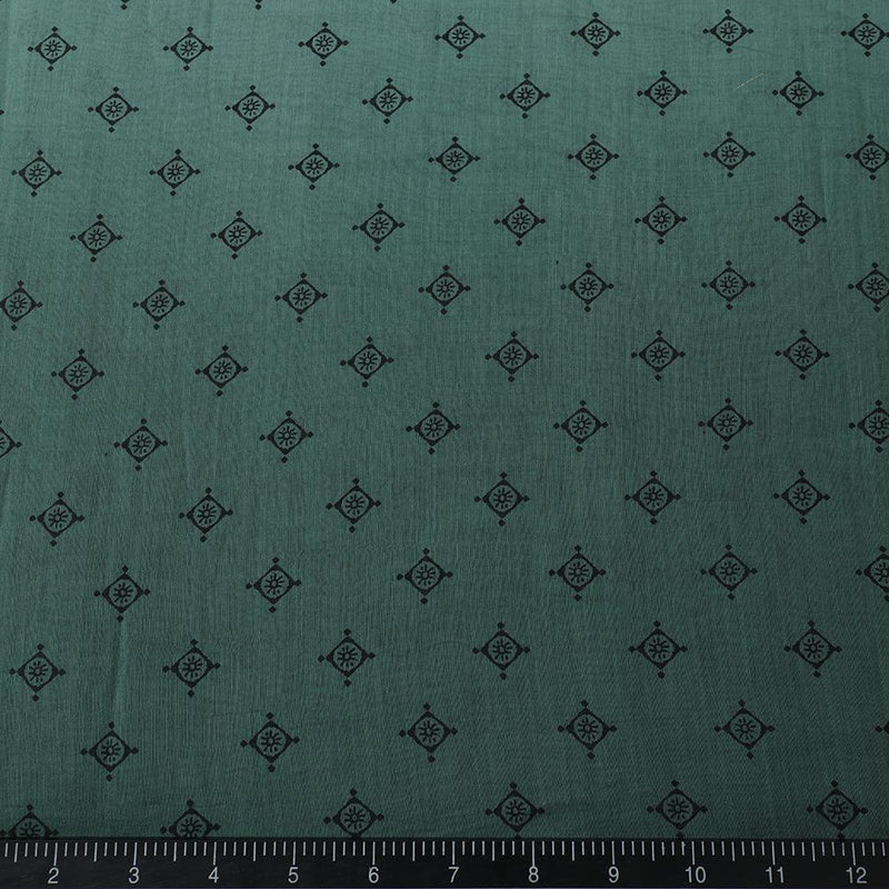 FFAB Fabric Collection | Print on Fine Chanderi Fabric | Green Color