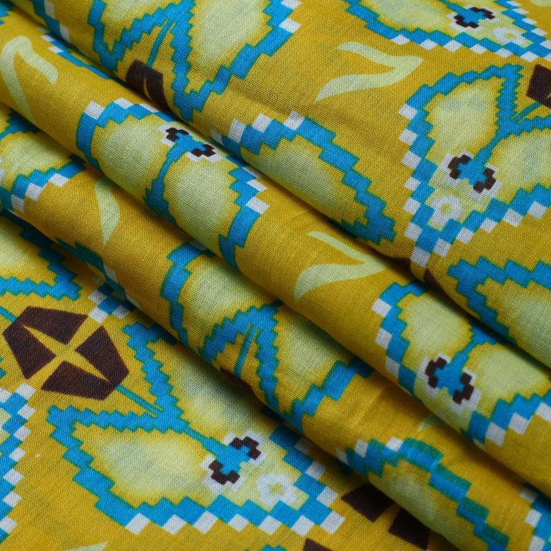 FFAB Fabric Collection | Print on Linen Fabric | Yellow-Blue Color