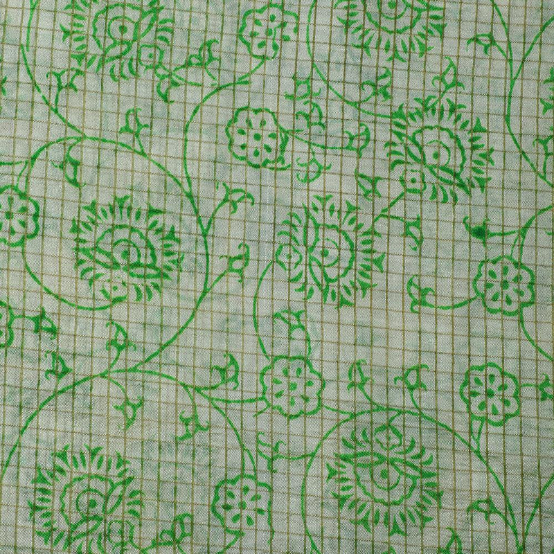 FFAB Fabric Collection | Print on Tussar Silk Fabric | Green Color