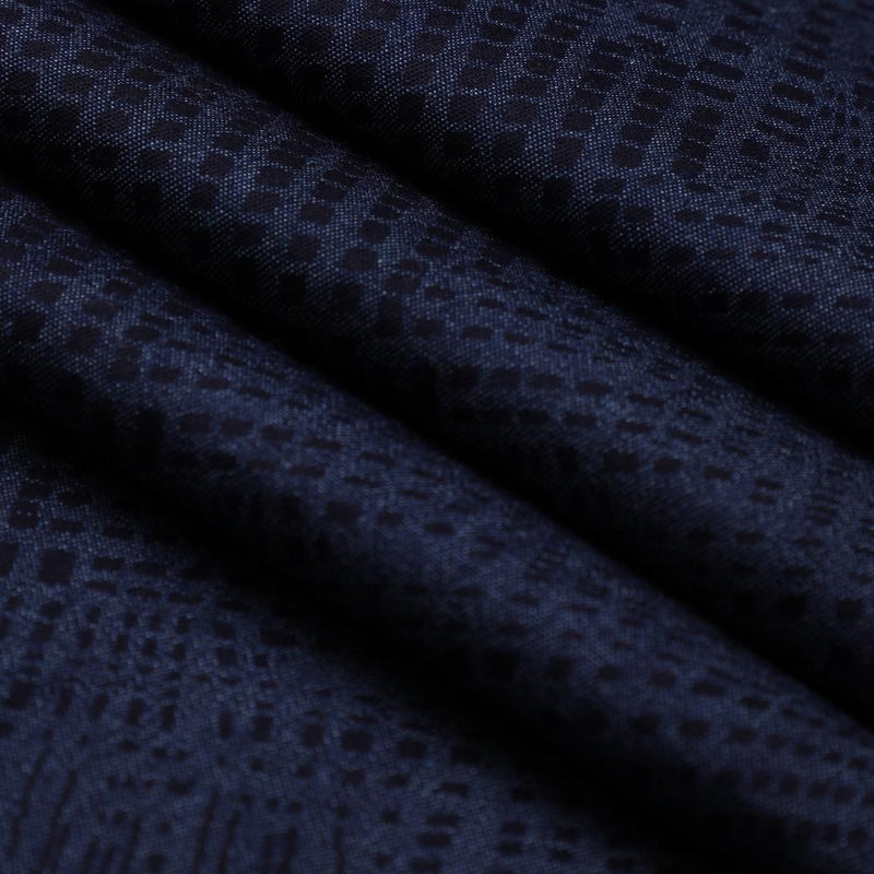 FFAB Collection | Print on Cotton Denim Fabric | Dark Blue Color