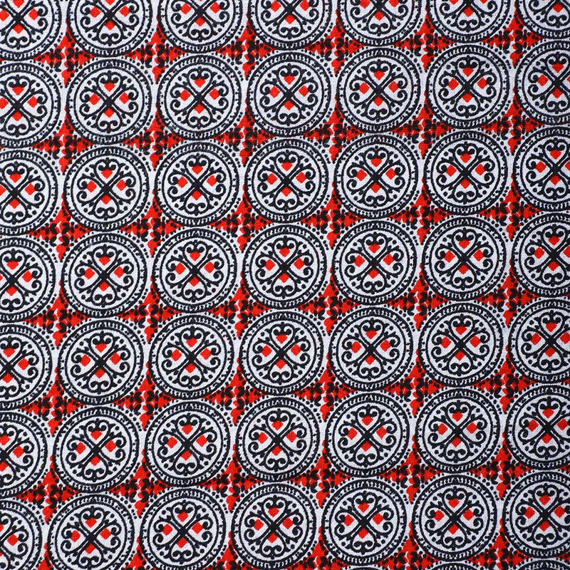 FFAB Fabric Collection | Print on Cambric Cotton Fabric | Red-Black Color