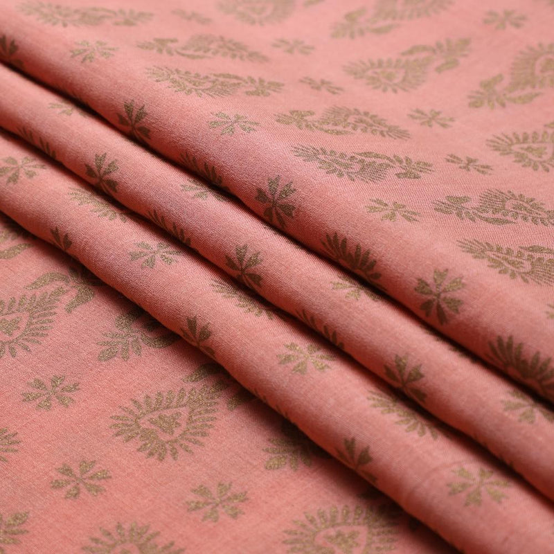 FFAB Fabric Collection | Print on Tussar Chanderi Fabric | Peach-Golden Color