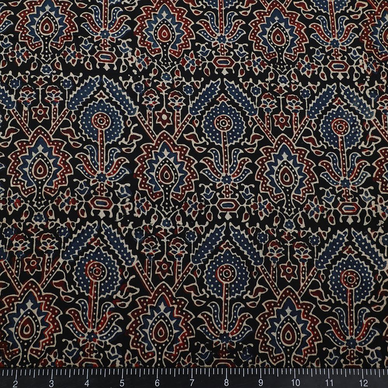 FFAB Fabric Collection | Handcrafted Azrakh Print on Modal Satin Fabric | Black and Blue Color