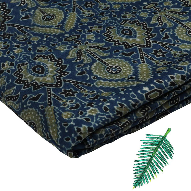FFAB Fabric Collection | Handcrafted Azrak Print on Modal Satin Fabric | Blue and Green Color