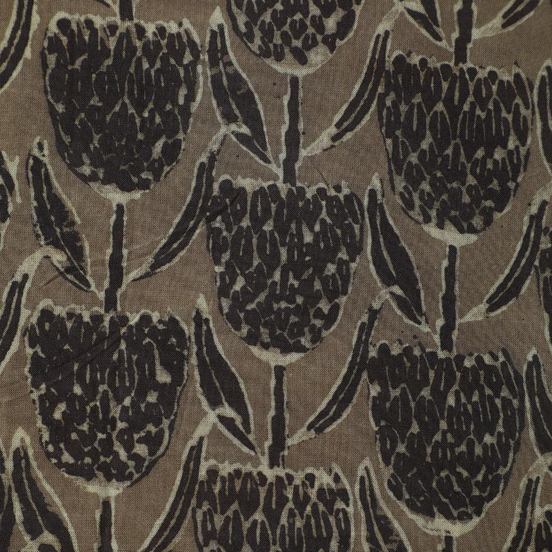 FFAB Fashion Fabric Collection | Handcrafted Azrakh Print on Modal Cotton Fabric | Brown Color