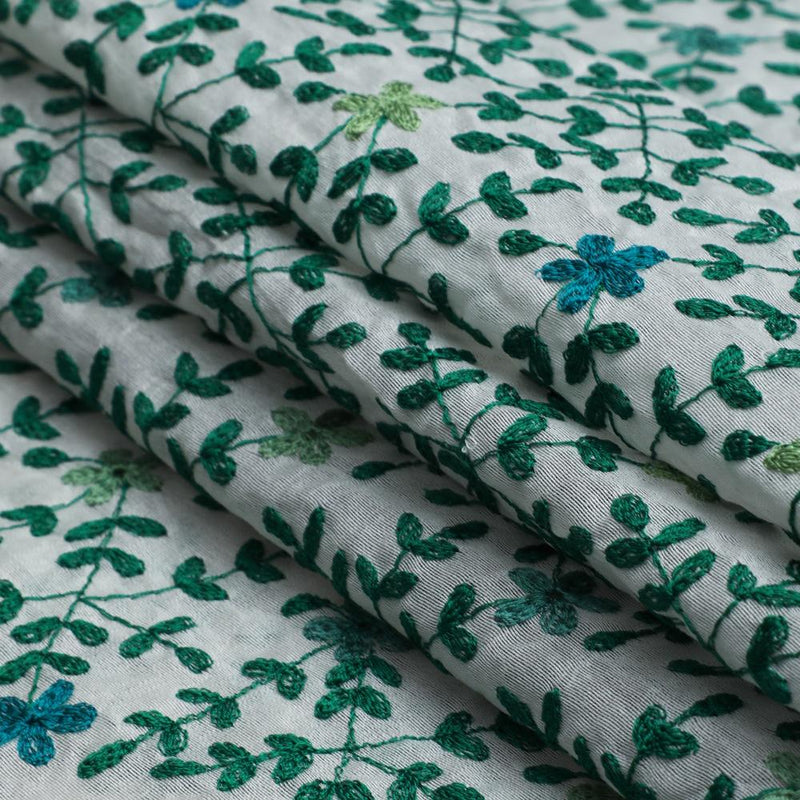 FFAB Fabric Collection | Embroidery on Fine Chanderi Fabric | Green Color