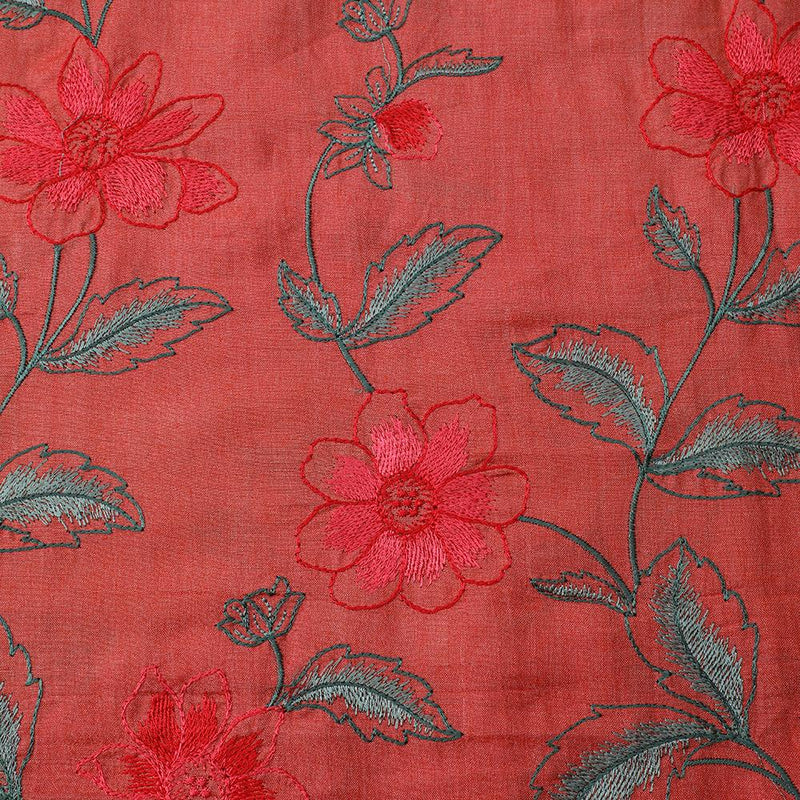 FFAB Fabric Collection | Embroidery on Tussar Muga Silk Fabric | Salmon Color
