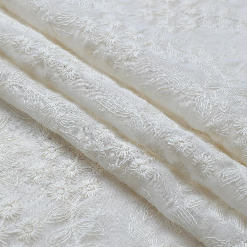 FFAB Fashion Fabric Collection | Embroidery on Fine Chanderi Fabric | White Color