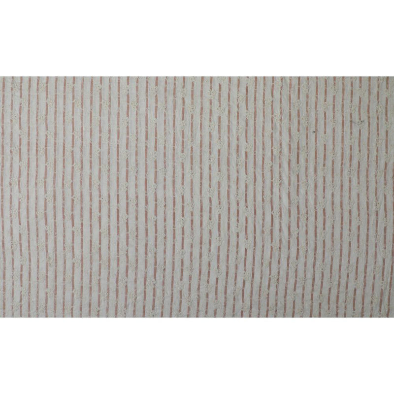 FFAB Fabric Collection | Embroidery on Cotton Muslin Fabric | White-Beige Color