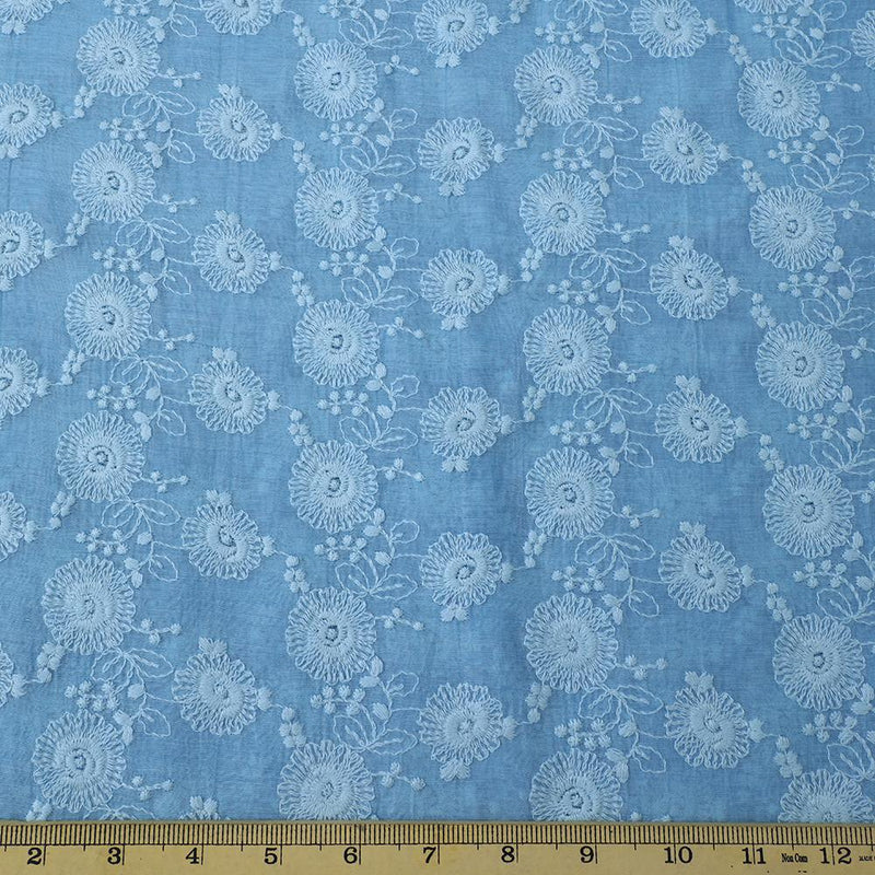 FFAB Fashion Fabric Collection | Embroidery on Fine Chanderi Fabric | Light Blue Color