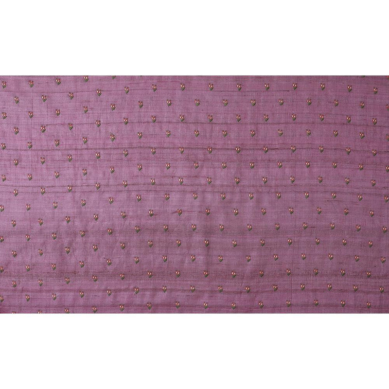 FFAB Fabric Collection | Embroidered Tussar Silk Fabric | Lavender Color