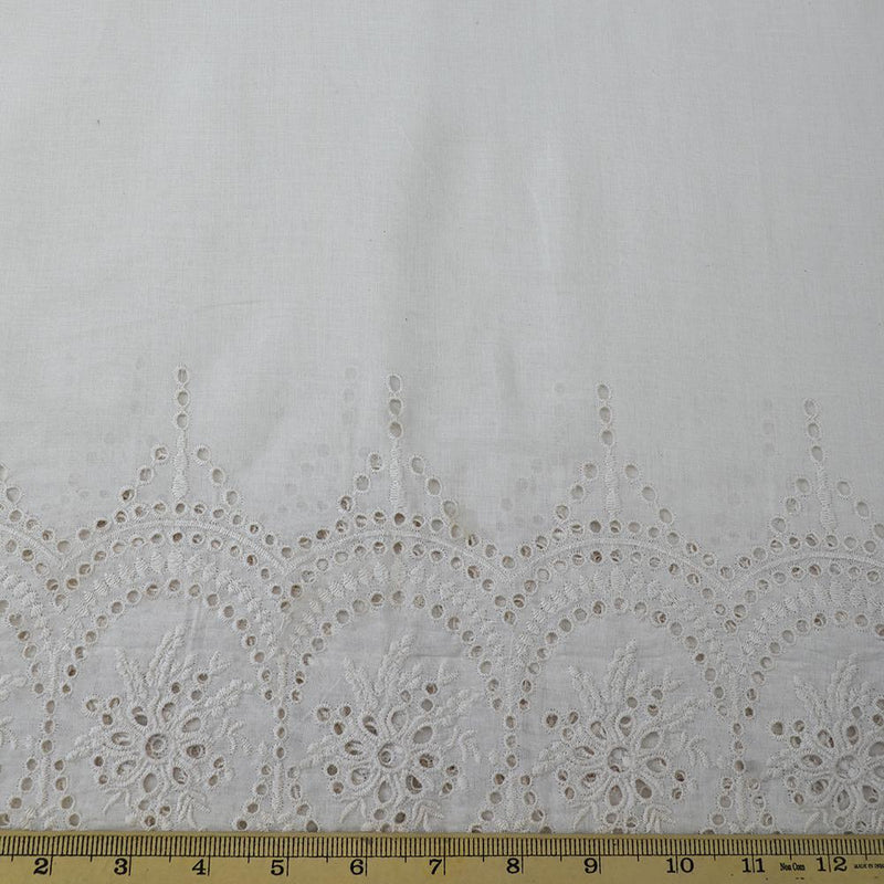 FFAB Fabric Collection | Embroidery on Cotton Cambric Fabric | Off White Color