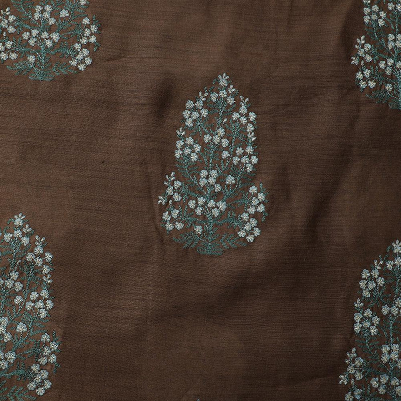 FFAB Fabric Collection | Embroidery on Muga Silk Fabric | Mud-Green Color