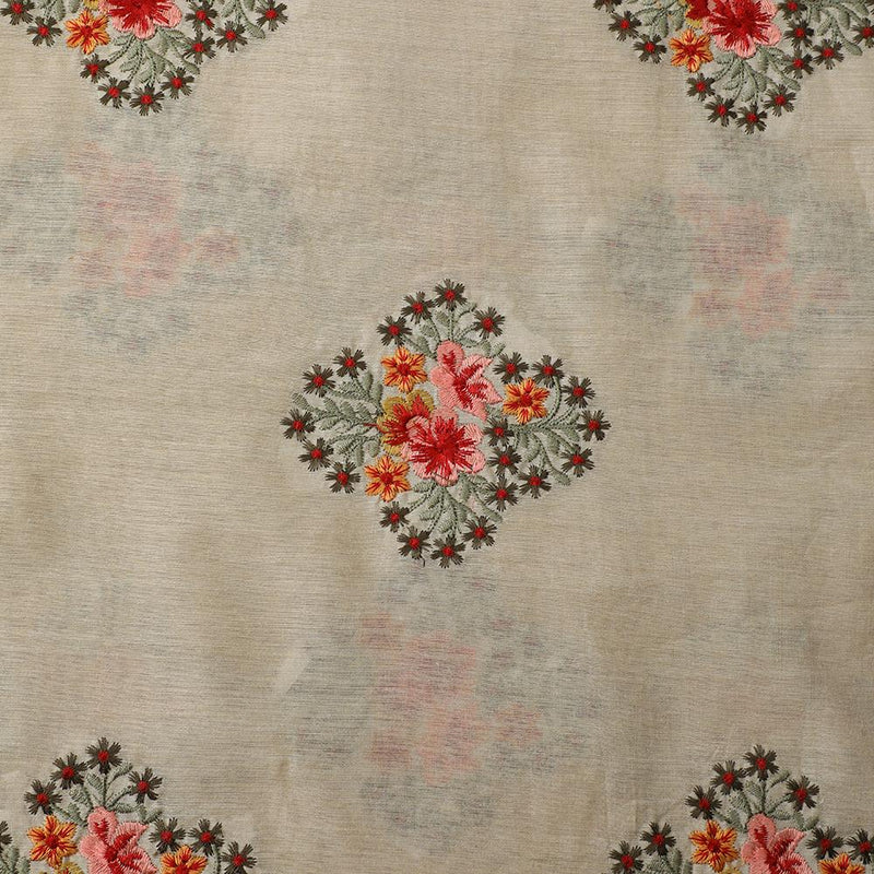 FFAB Fabric Collection | Embroidery on Muga Silk Fabric | Beige Color