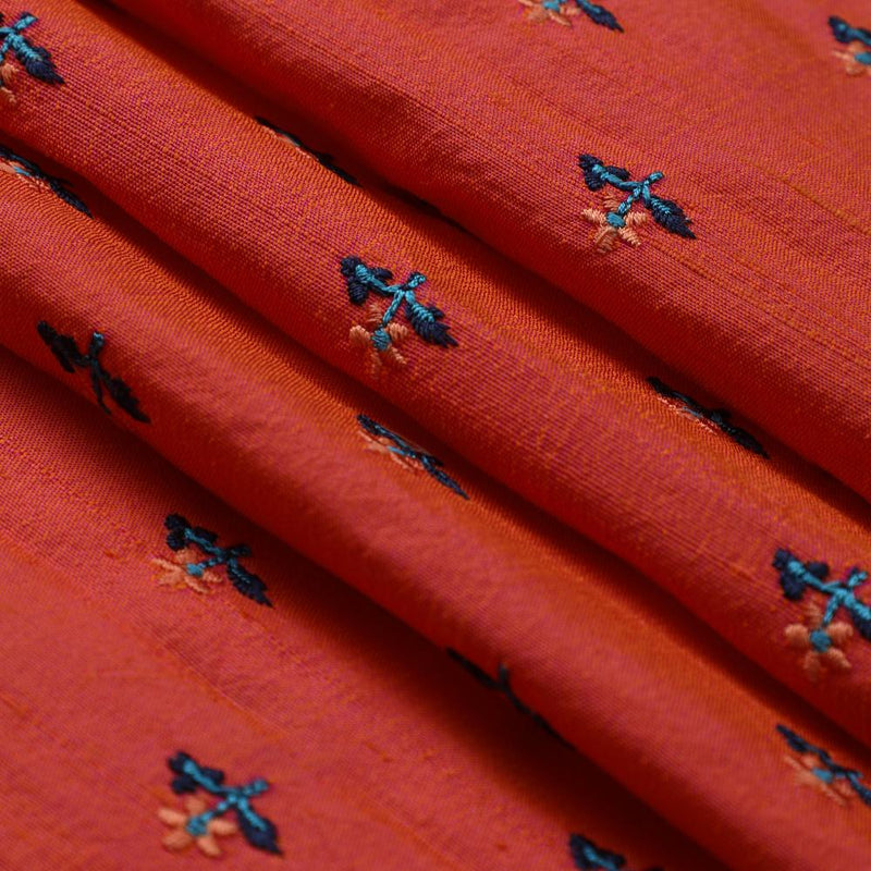 FFAB Fabric Collection | Embroidered Dupion Silk Fabric | Orange-Pink Color