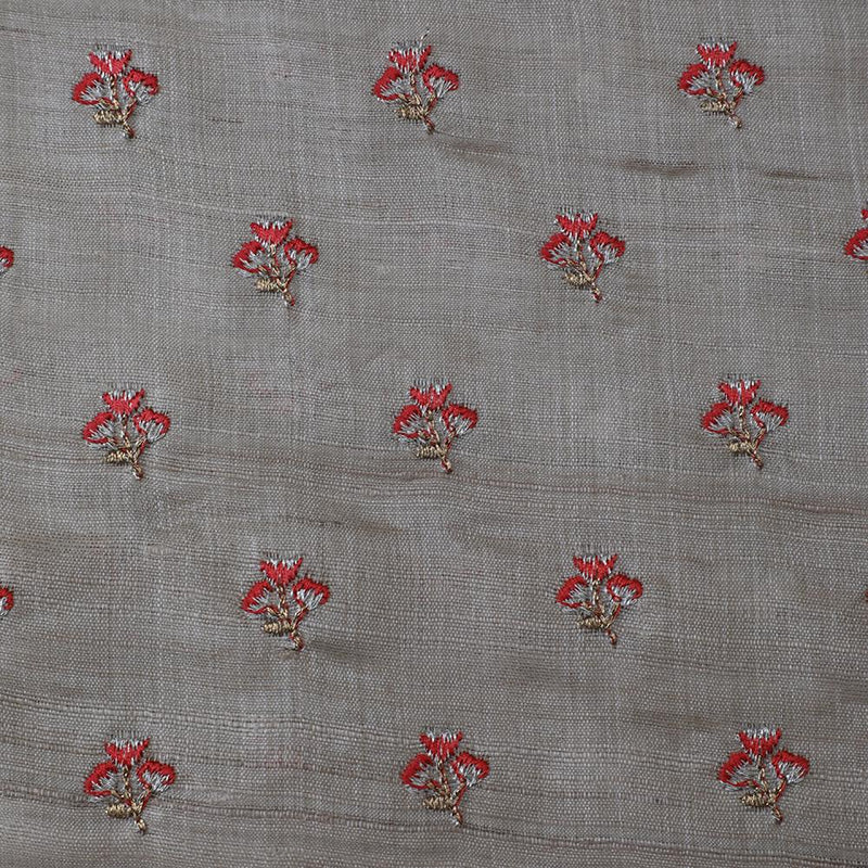 FFAB Fashion Fabric Collection | Embroidery on Silk Tussar Fabric | Beige Color