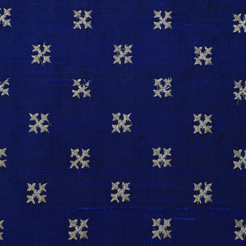 FFAB Fashion Fabric Collection | Embroidery on Raw Silk Fabric | Blue Color