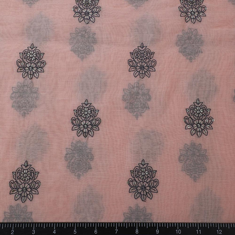 FFAB Fashion Fabric Collection | Embroidery on Fine Chander Fabric | Peach Color