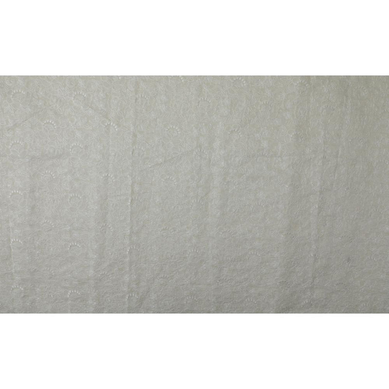 FFAB Fabric Collection | Embroidery on Fine Chander Fabric | White Color