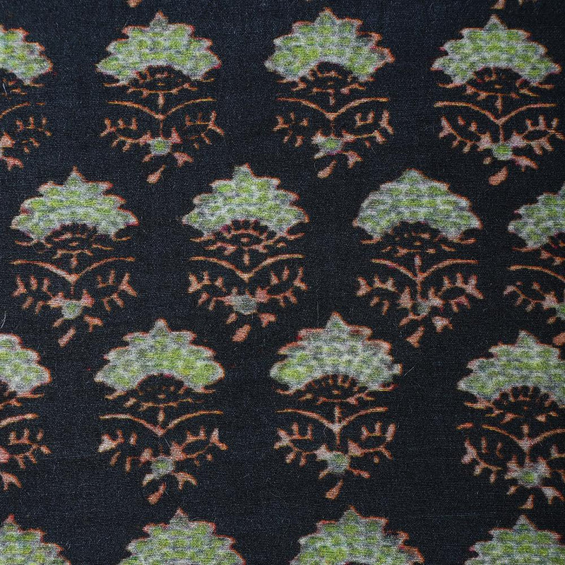 FFAB Fabric Collection | Digital Print on Muga Georgette Silk Fabric | Black Color