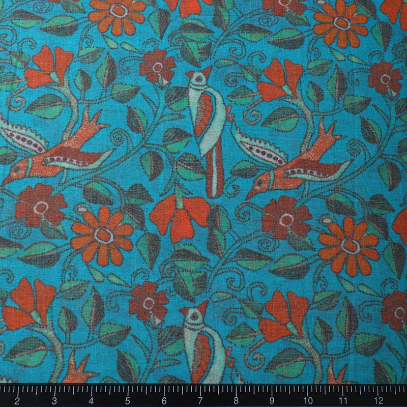FFAB Fabric Collection | Digital Print on High Twisted Poly Voile Fabric | Blue-Orange Color