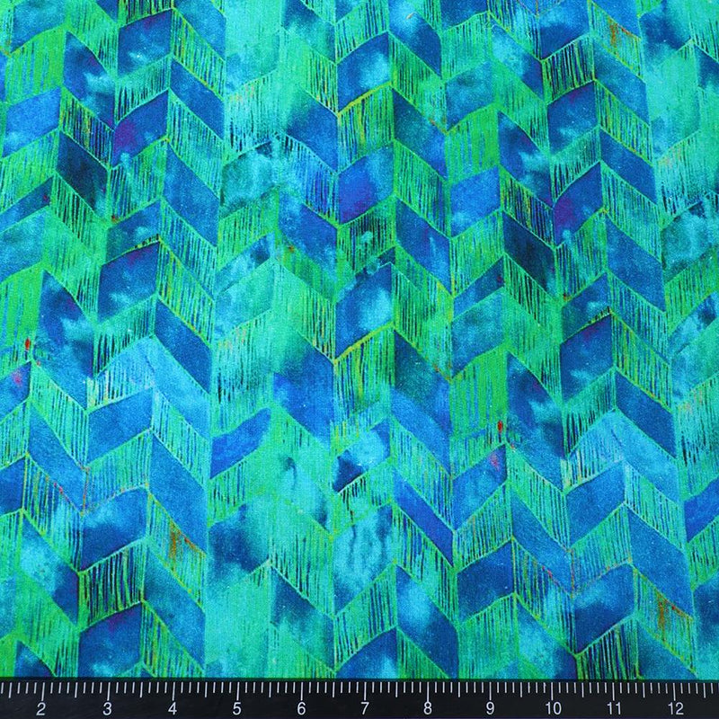 FFAB Fabric Collection | Digital Print on Muslin Cotton Fabric | Blue-Green Color