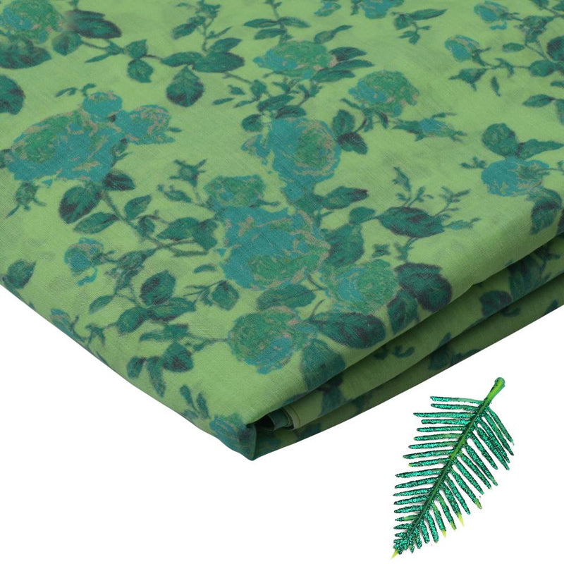 FFAB Fabric Collection | Digital Print on High twist Poly Cotton Voile Fabric | Green Color