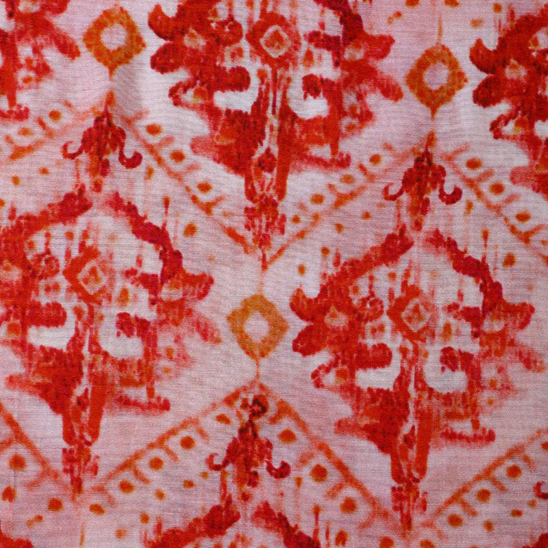 FFAB Fabric Collection | Digital Print on Bemberg Modal Fabric | Red-Light Pink Color
