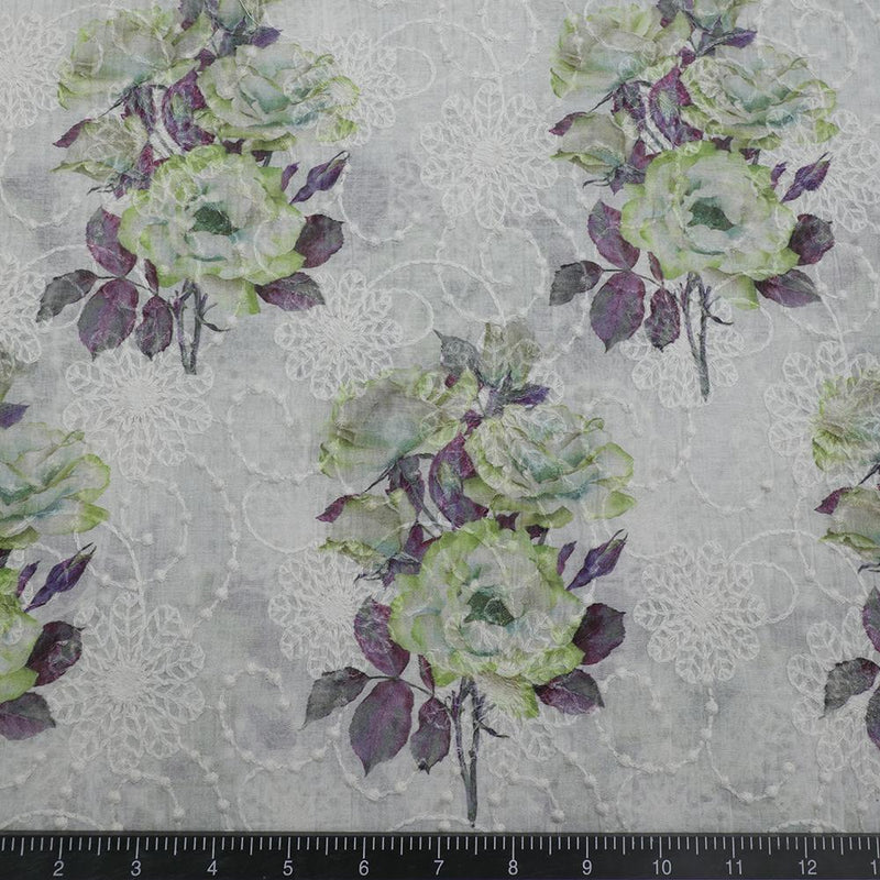 FFAB Fabric Collection | Digital Print on Embroidered Fine Chanderi Fabric | Green and Purple Color