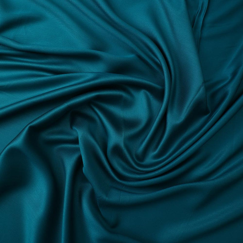 FFAB Fabric Collection | Piece Dyed Modal Satin Fabric | Turquoise Color