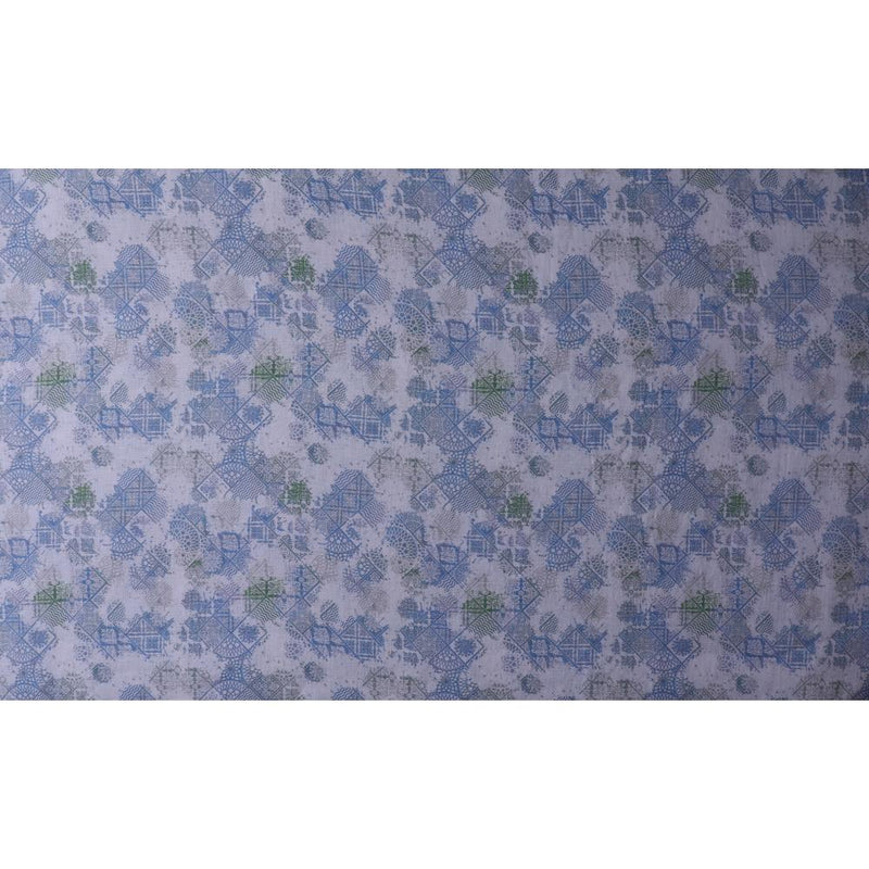 FFAB Fashion Fabric Collection | Print on Linen Fabric | Blue Color
