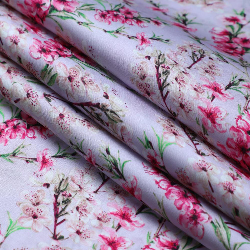 FFAB Fabric Collection | Digital Print on Bemberg Satin Fabric | Pink Color
