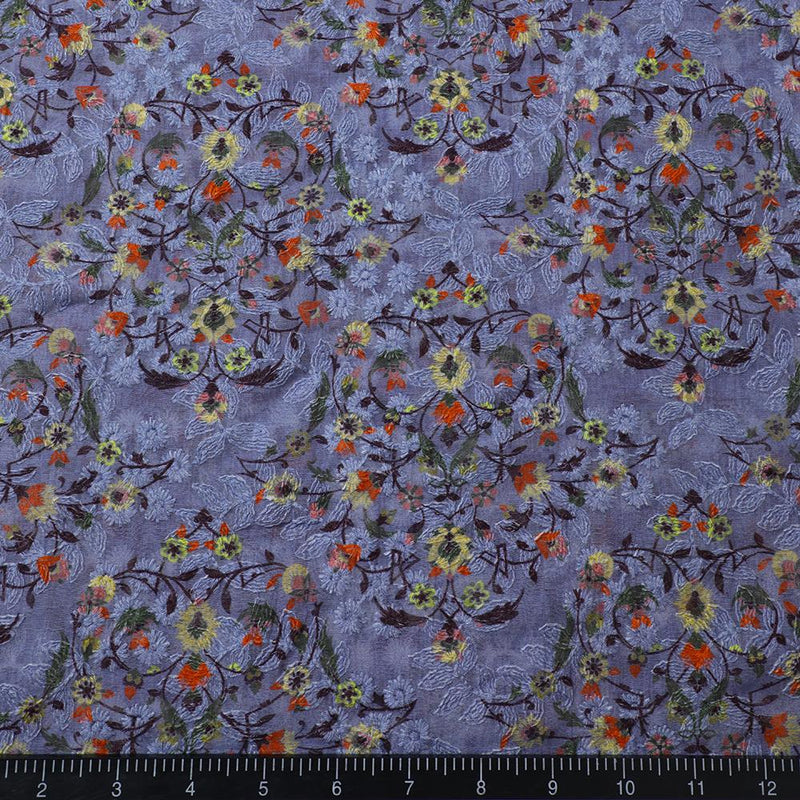 FFAB Fabric Collection | Digital Printed Embroidered Fine Chanderi Fabric | Light Purple-Yellow Color