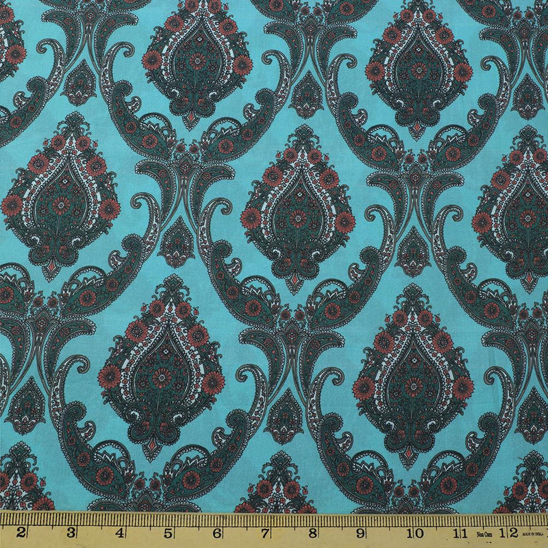 FFAB Fabric Collection | Digital Print on Cotton Tanna Lawn Fabric | Aquamarine Green Color