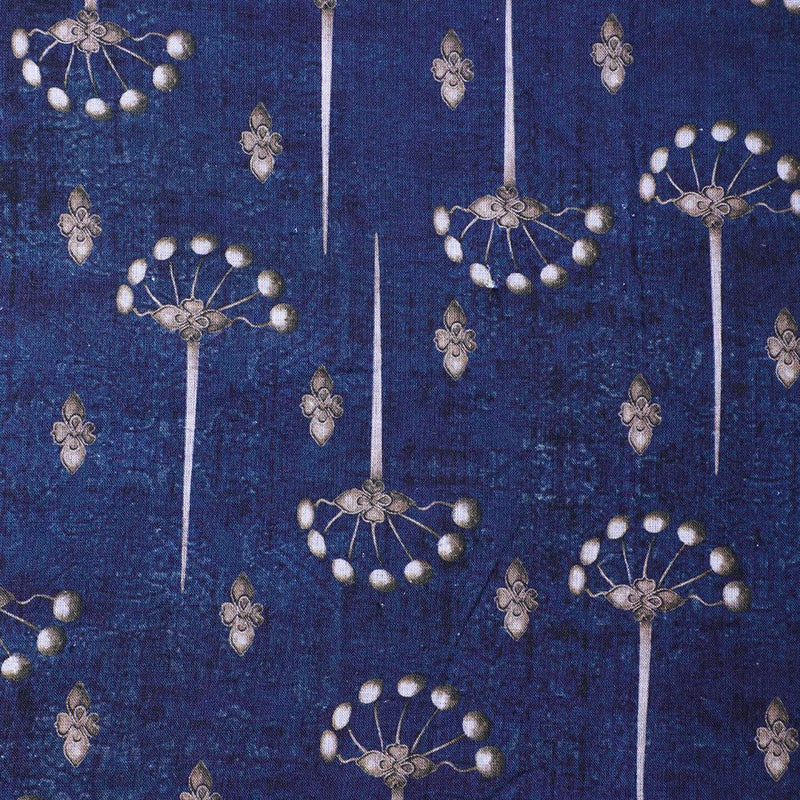 FFAB Fabric Collection | Digital Print on Linen Excel Fabric | Dark Blue Color