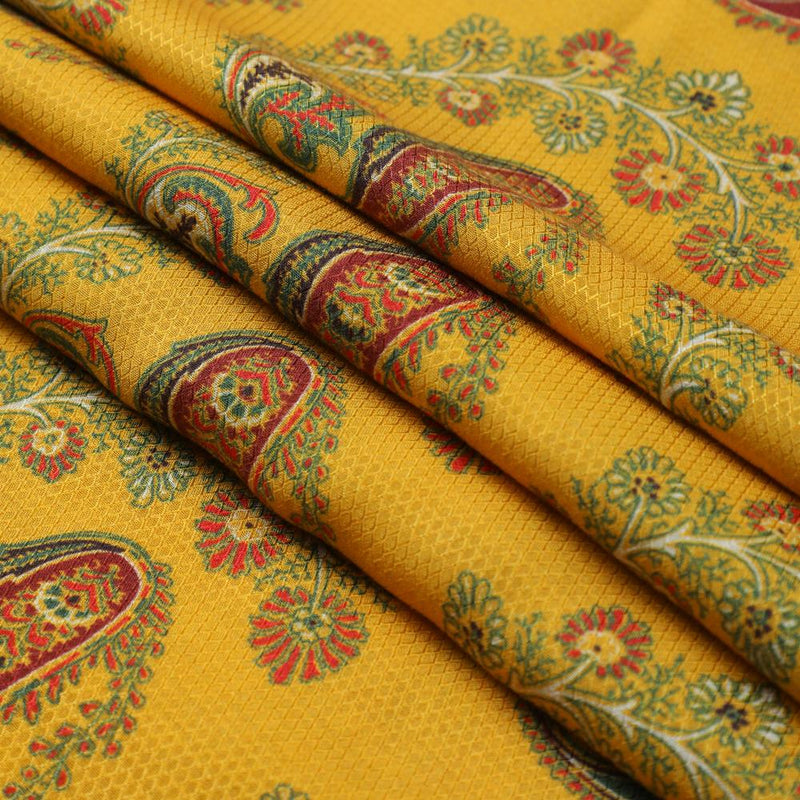 FFAB Fabric Collection | Digital Print on Modal Dobby Fabric | Yellow Color
