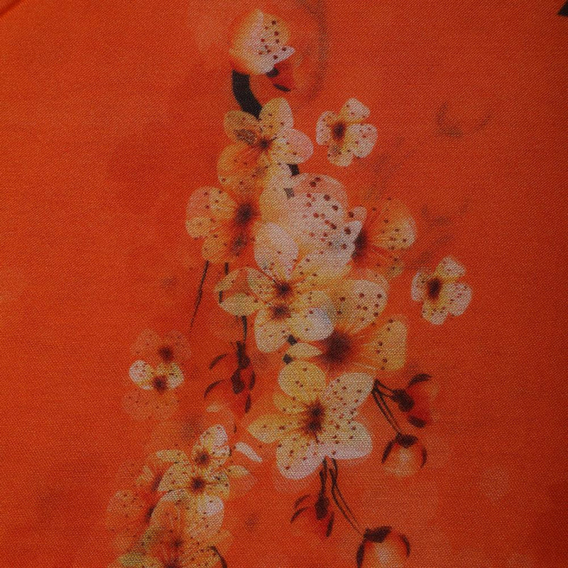 FFAB Fabric Collection | Digital Print on Bemberg Modal Fabric | Orange Color